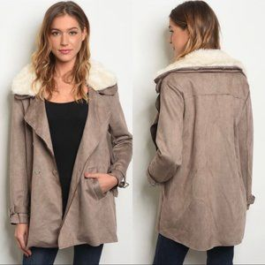 NWT HYFVE Taupe Faux Suede Short Trench Coat